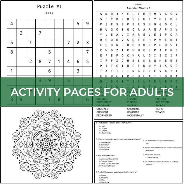 Activity Pages for Adults